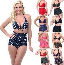2015 Push up High Waist Swimsuit 4XL XXXL XXL big size Women Bathing Suit Padded  Bikini set Retro Beachwear Plus Size Swimwear