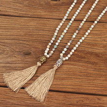 Go2boho Amazonite Long Necklace Statement Necklaces Mala Beads Tassel Buddha Women Yoga Jewelry Natural Semi-Precious Stones New