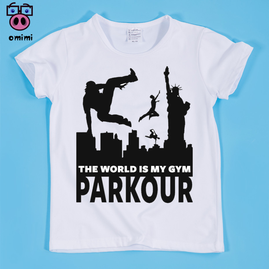 Ready Stock,Size(90-160cm) Children's Parkour Funny Anime Design Print T-shirt Boy and Girl Soft White Tee Shirt Baby Clothing