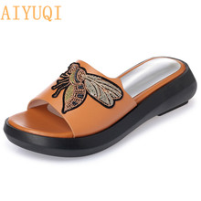 AIYUQI Women's slippers 2019 new summer slippers for women genuine leather casual flat fashion sandals with open toe red shoes