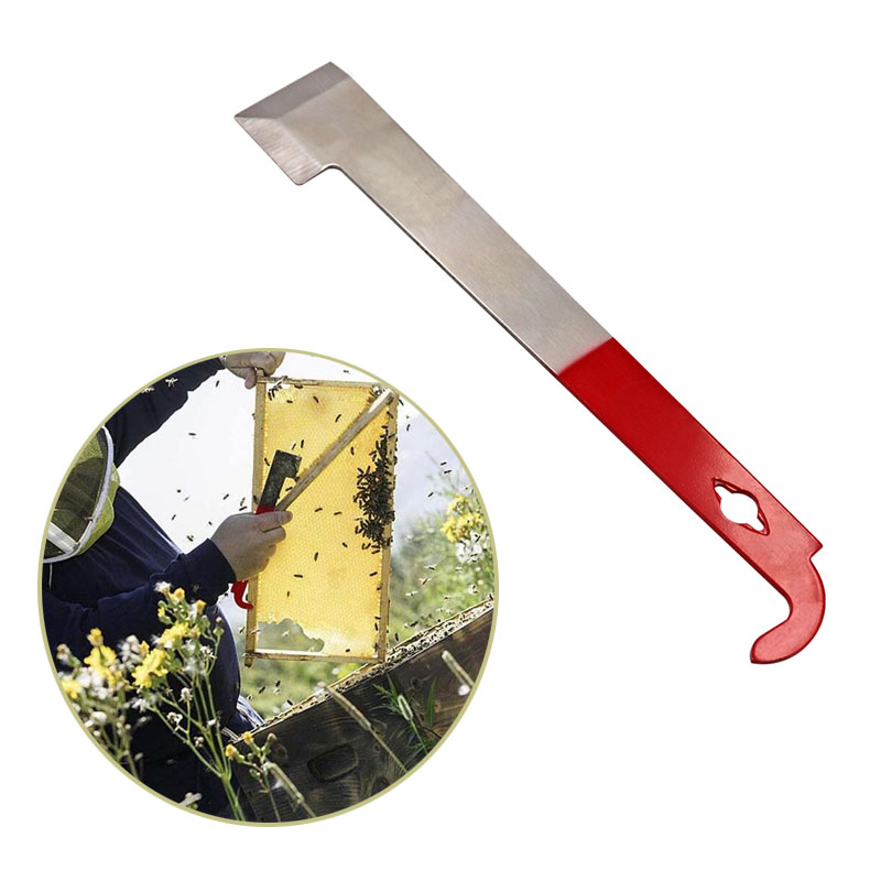 Beekeeping Equipmentc Red 27cm Stainless Bee Hive Tool Frame Lifter And Scraper J Shape Hook Beekeeper Tool Scraping Knife