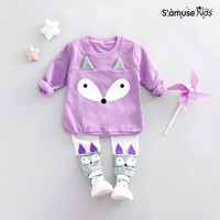 2017 New Autumn Spring Newborn Baby Girl Clothes Fashion Sports Cute Cartoon Sweartshirt Pants 2pcs Children