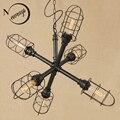 Винтажная креативная Подвесная лампа с железной росписью  светодиодная 6 ламп  подвесной светильник E27 110 В для кухонных огней  ресторанный б...