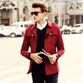 Top quality British Luxury Single Breasted Red Trench Coat Mens Fall/Winter Long Coat Trench Jackets Sales Mens Trenchcoat