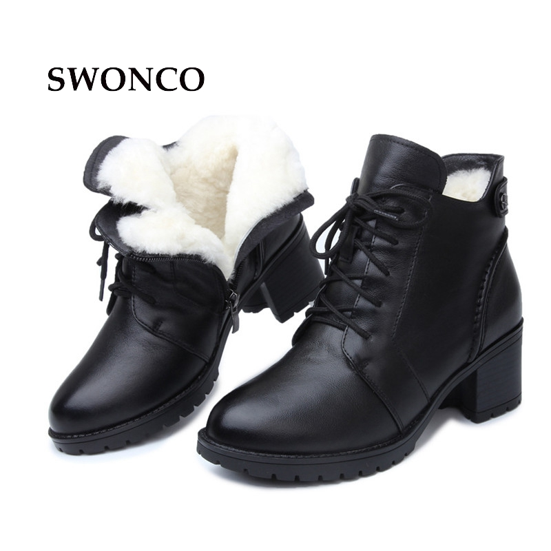 SWONCO Women's Winter Boots Genuine Leather Wool Warm Snow Boot Women Boots High Heels Ankle Boot For Woman Shoes Black Shoes все цены