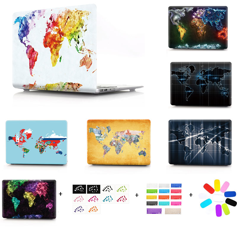 World Map Plastic Hard Case For Mac Book Air Pro Retina 13 11 12 15 Laptop Case for macbook A1706 A1708 A1707 A1466 touch bar for macbook pro 13 15 2017 2016 case with non touch bar a1706 a1707 a1708 laptop print case cover air pro retina 13 3 15 4