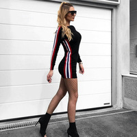 DERUILADY Women Long Sleeve Casual Bodycon Dress 2018 Spring Slim Sexy Dress Striped Fashion Sheath Mini
