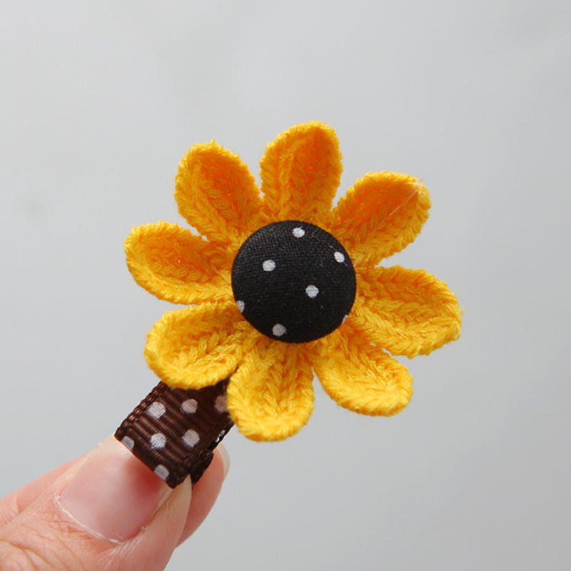 Купить с кэшбэком Sale 2PCS/Set Sweet Sunflower Hair Pin Hair Rope Cute Korean Girls Fashion Elastic Hair Bands Kids Hair Accessories
