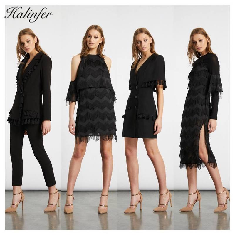 Halinfer 2019 new summer women set sexy bodycon V Neck Tasse Suit dress formal homecoming party coat dress vestidos in Women 39 s Sets from Women 39 s Clothing