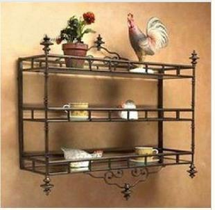 Continental Iron Kitchen Shelf Bathroom Shelf Storage Rack Wrought - Wrought iron bathroom wall shelves