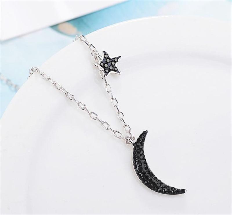 LUKENI 100% Silver925 Pendants Necklace For Women Jewelry Charm Cubic Zirconia Star Black Moon Girl Choker Necklace Accessories