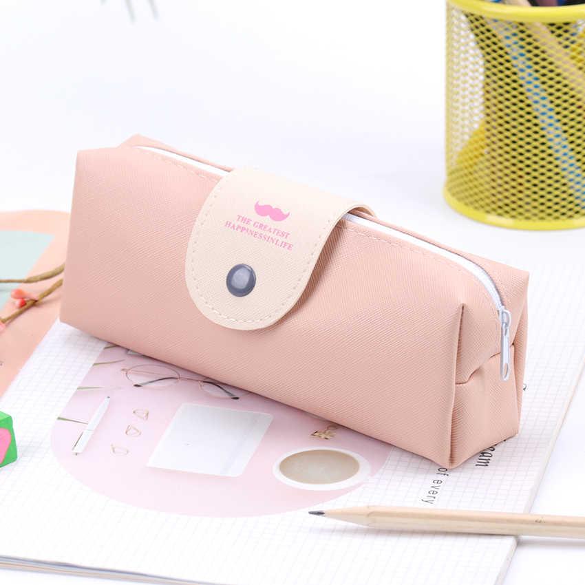 1 шт. корейский конфетных оттенков пенал из полиуретана кожа Водонепроницаемая школьная сумка-Карандаш для девочек канцелярские принадлежности Escolar школьные принадлежности