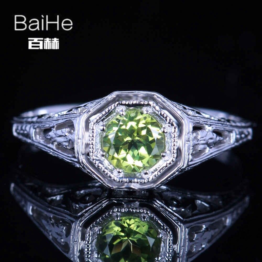 BAIHE Solid 14K White Gold(AU585) 0.92CT Certified Green/Flawless Round 100% Genuine Peridot Wedding Women Casual/Sporty Ring BAIHE Solid 14K White Gold(AU585) 0.92CT Certified Green/Flawless Round 100% Genuine Peridot Wedding Women Casual/Sporty Ring