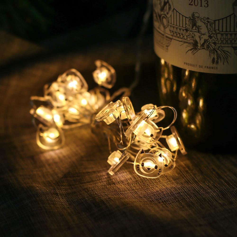 LED Lichterkette Feenlichter Katze 20 Lichter