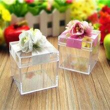 Красивые белые розовые цветные пластиковые прозрачные вечерние подарочные коробки, 6*6*6 см, BY18071703