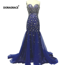 Doragrace Real Photo Sweetheart Sleeveless Mermaid Navy Blue Evening Dresses Formal Party Gowns