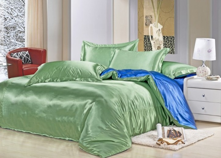 7pcs green blue silk bedding set satin sheets california king queen full twin size duvet cover fitted bed designer quilt bedroom - Cal King Sheets