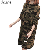 LXUNYI New Camouflage Hooded Women Knitted Dress Midi Sweater Dresses For Winter Autumn Female Sweaters Hoodies Dress Pullover