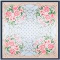 2017 Nuevo 90*90 cm Cuadrado Grande Bufandas Cadenas de Flor Color de Rosa Floral Impresión de Seda Imitado Bufanda de Flores de Lujo de la Marca Pashmina Chal