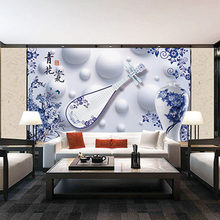 Custom 3D Print Fabric &Textile Wallcoverings For Walls Murals Cloth Matt Silk For Living Room Flowers Blue and white porcelain(China)