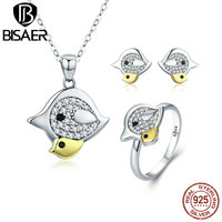 BISAER Genuine 925 Sterling Silver Clear CZ Gold Color Plated Bird Mom And Baby Jewelry Set For Women Festival Gift GUS058