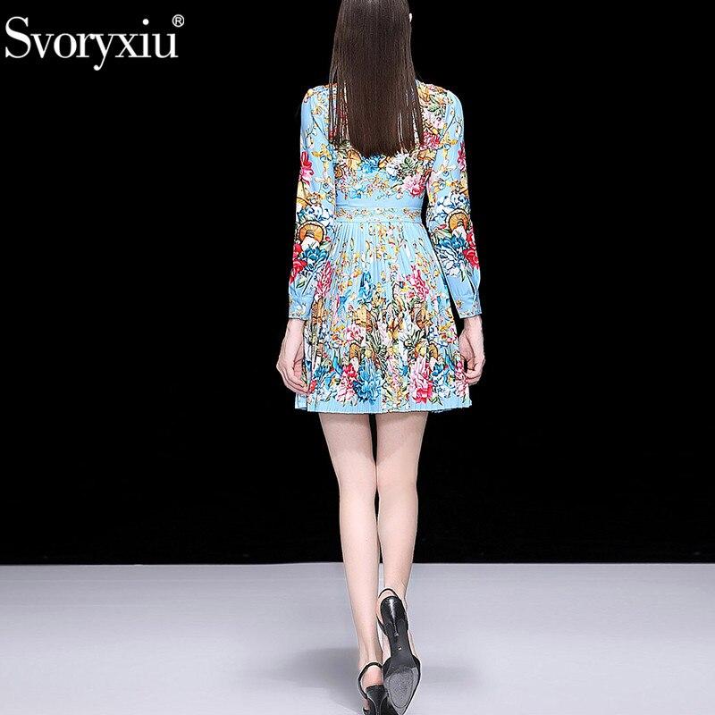 Svoryxiu elegancki Runway wiosna lato plisowana krótka sukienka damska uroczy kwiatowy Print diamenty moda sukienek vestidos w Suknie od Odzież damska na  Grupa 2