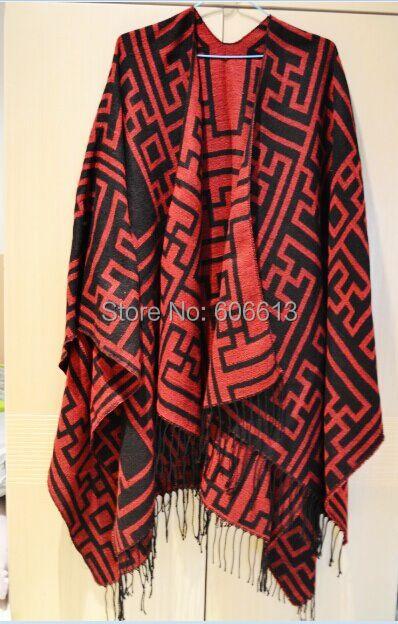 Nova Chegada de Lã Asteca Capa Poncho, Mulheres Tamanho grande Envoltório Xailes do Lenço, frete Grátis