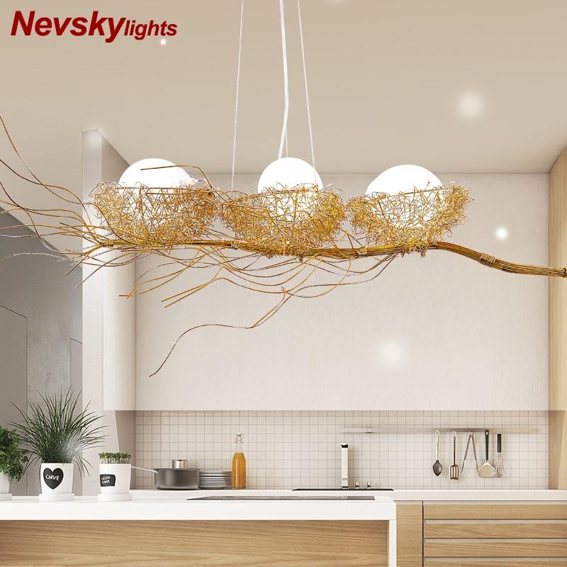 Modern bird's nest chandelier lighting dining golden bird's nest with led lamp metal lustre bedroom pendant lamp kitchen fixture Pendant Lights     - title=