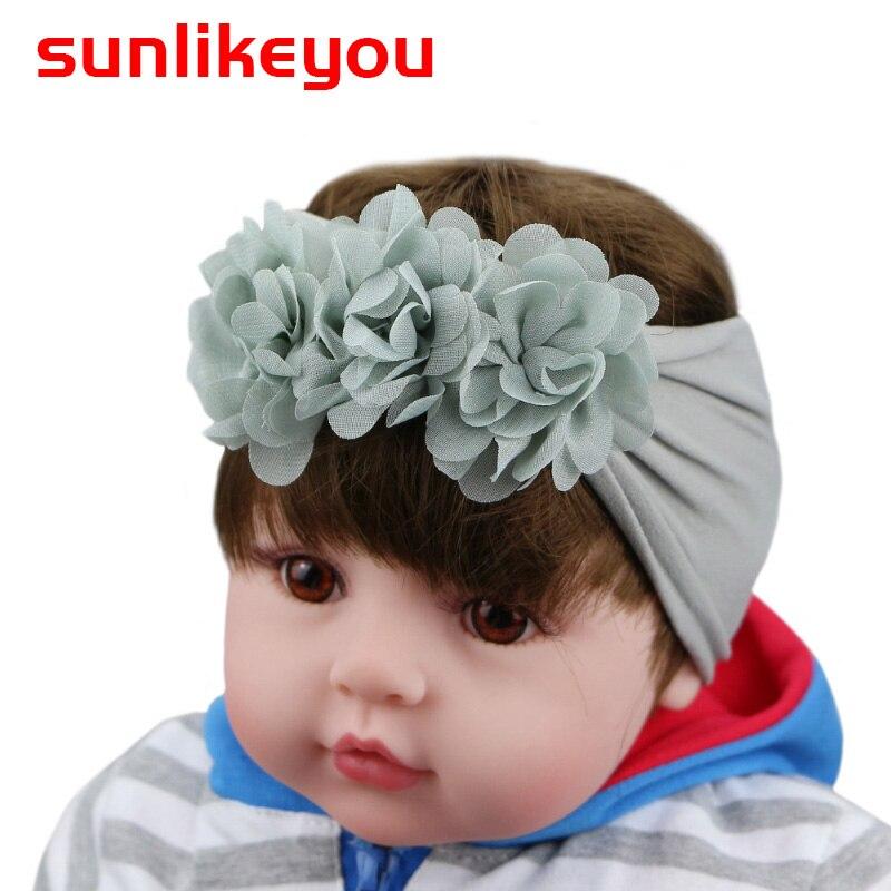 Sunlikeyou Child Nylon Headbands Stretchy Kids Hair Band Flower Handmade Soft Newborn Bands For Girls Accessories