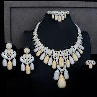Round Pendant Folk custom Necklace Bracelet Earring Ring Jewelry Sets Full Cubic Zirconia for Women Wedding Performance Occasion