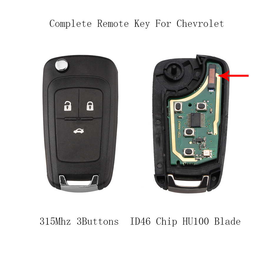 3 Knoppen 315 Mhz Compleet Remote Sleutel Voor Chevrolet Cruze Camaro Equinox Malibu Sonic Spark Volt 2011-2013 Id46 Chip Hu100