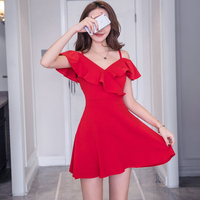 2018 New Summer Fashion Women dress Ruffles Spaghetti Strap Popular Celebrities Sexy Dresses Red Black 8182