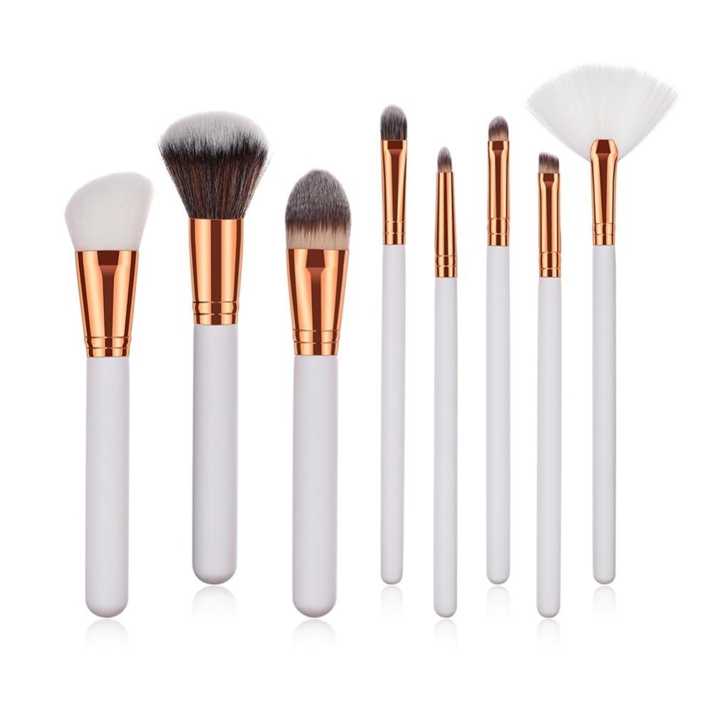 8/9Pcs Gold Alumium Makeup Brush Soft Hair Eyeshadow Eyebrow Eyelashes Make Up Brushes Highlighter Blush Contour Cosmetics Brush