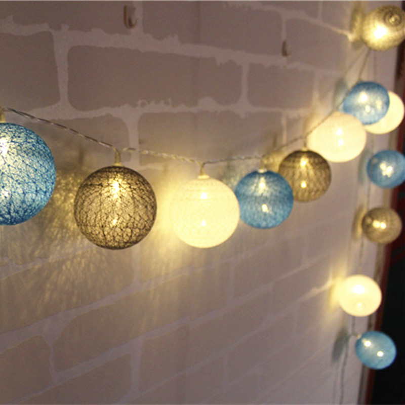 White blue gray indoor decoration cotton ball led string - Indoor string light decoration ideas ...