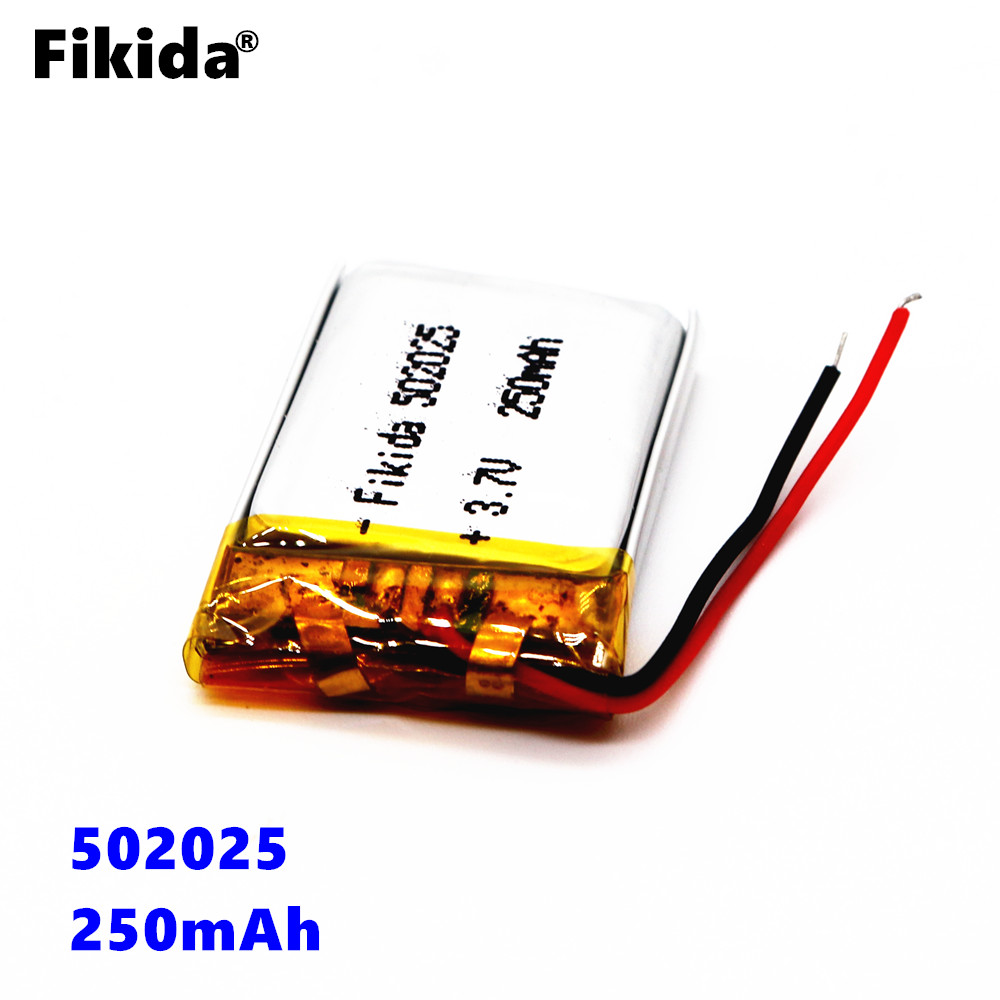 цена на Fikida 502025 3.7v 250mah lithium polymer battery GPS digital product bluetooth headset toy small fan rechargeable battery