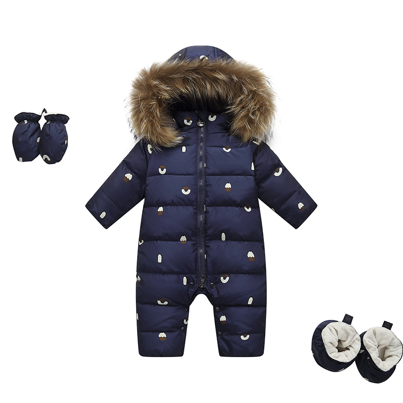 Winter Baby Rompers New Born Jumpsuit Kids Clothes Snowsuit Real Fur Duck Down Jacket for Girls Coat Park for Boy Overalls цена 2017