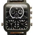 2016 Novos Relógios de Moda e Casual V6 Big Dial Retângulo quartzo de Couro Preto Relógio De Quartzo Analógico Para Homens Esporte Militar relógio