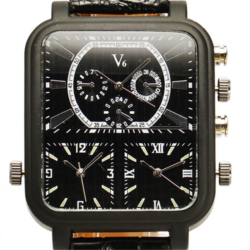 Noi ceasuri moda și casual V6 Big dreptunghi Dial cuarț negru piele - Ceasuri bărbați