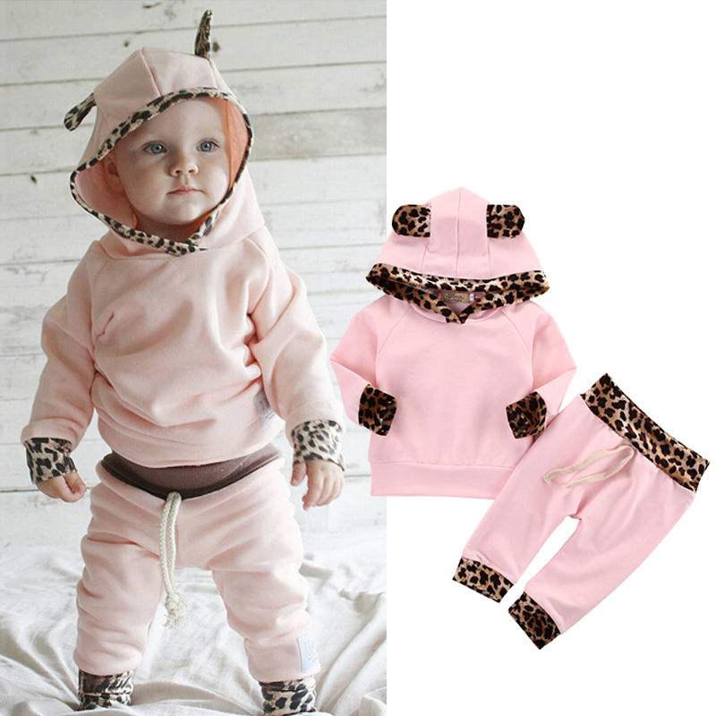 2017 Hot 2pcs Infant Baby Boy Girl Clothes Fashion Toddler Kids Leopard Hoodies Top Pant Bebek Giyim Clothing Set Spring Suit baby girl 1st birthday outfits short sleeve infant clothing sets lace romper dress headband shoe toddler tutu set baby s clothes