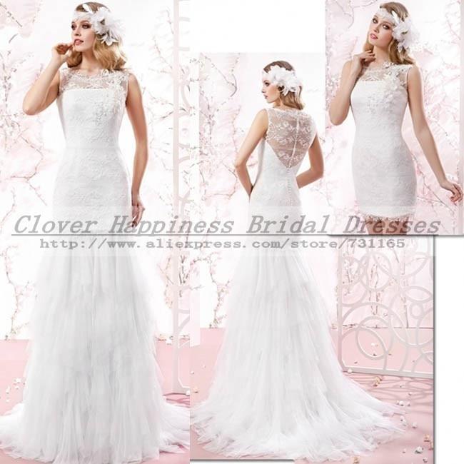 Vestido de noiva 2 em 1 renda vintage lace mermaid wedding for Wedding dress detachable skirt