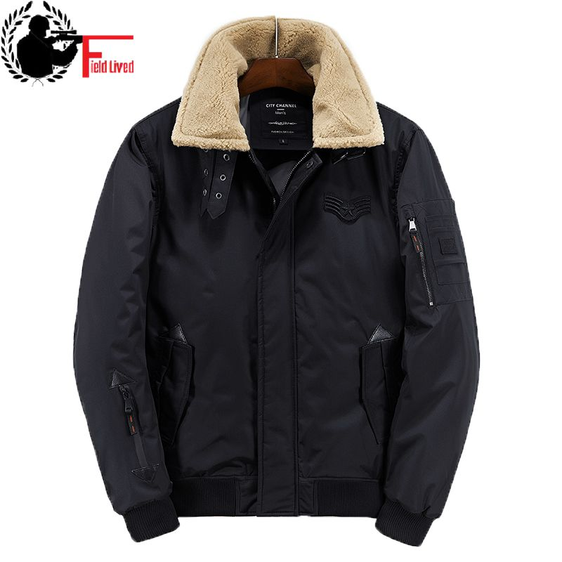 Mens Bomber Jackets Fashion Solid Hooded   Parkas   Turn Down Fur Collar Winter Jacket Coat Warm Cotton Padded Male Overcoat Quality