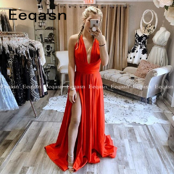 Elegant Red Prom Dresses Long 2020 V Neck Stretch Satin A Line Party Gown Side Split Formal Evening Dress vestido de gala