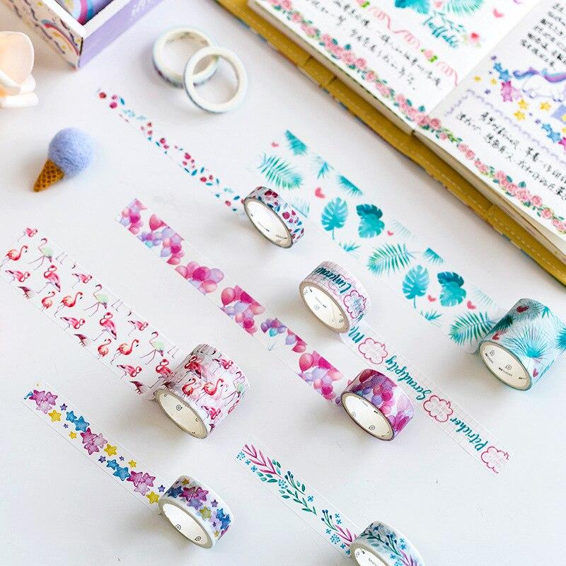 10pcs/lot Ocean Stars Wisteria Floral Cute Paper Masking Washi Tape Set Japanese Stationery Kawaii Scrapbooking Supplies Sticker
