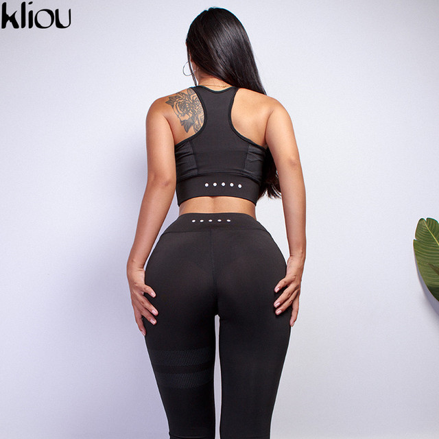 Kliou 2018 Women fitness Two Piece Set Women Sexy Set Sporting Bra sporting Top+Long workout Pants High-Quality workout Suits 3