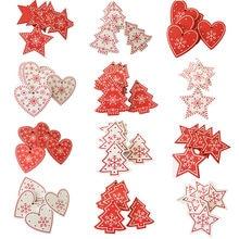 10 unids/lote Nuevo Año Natural adornos de madera de Navidad colgante colgantes de madera regalos de copos de nieve decoración del árbol de Navidad decoraciones para el hogar