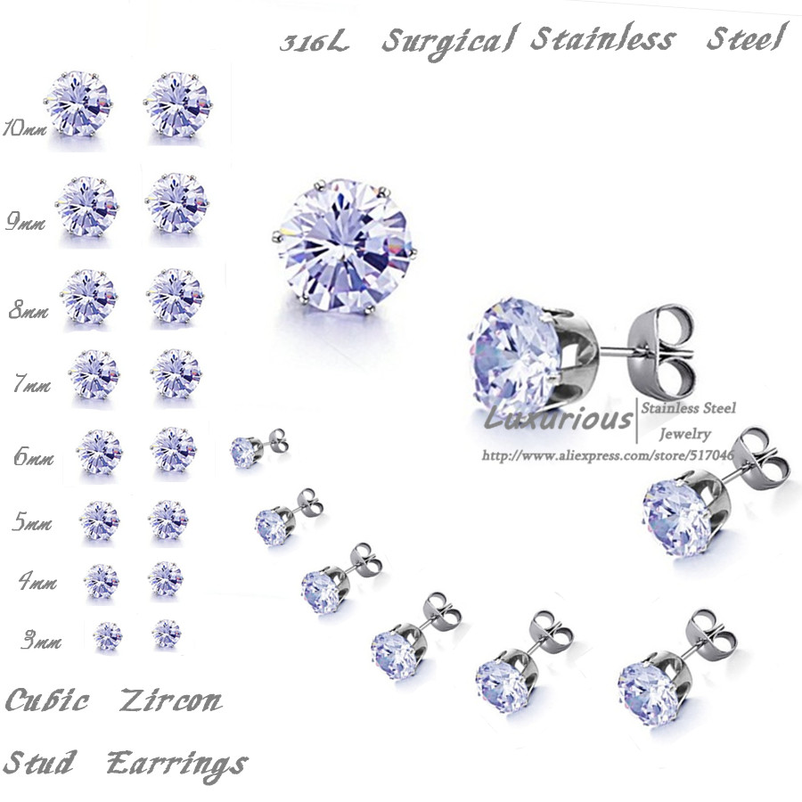 Light Blue Color Cubic Zircon 316l Surgical Stainless Steel Stud Earrings 10pairs Lot 3mm To 10mm In From Jewelry Accessories On