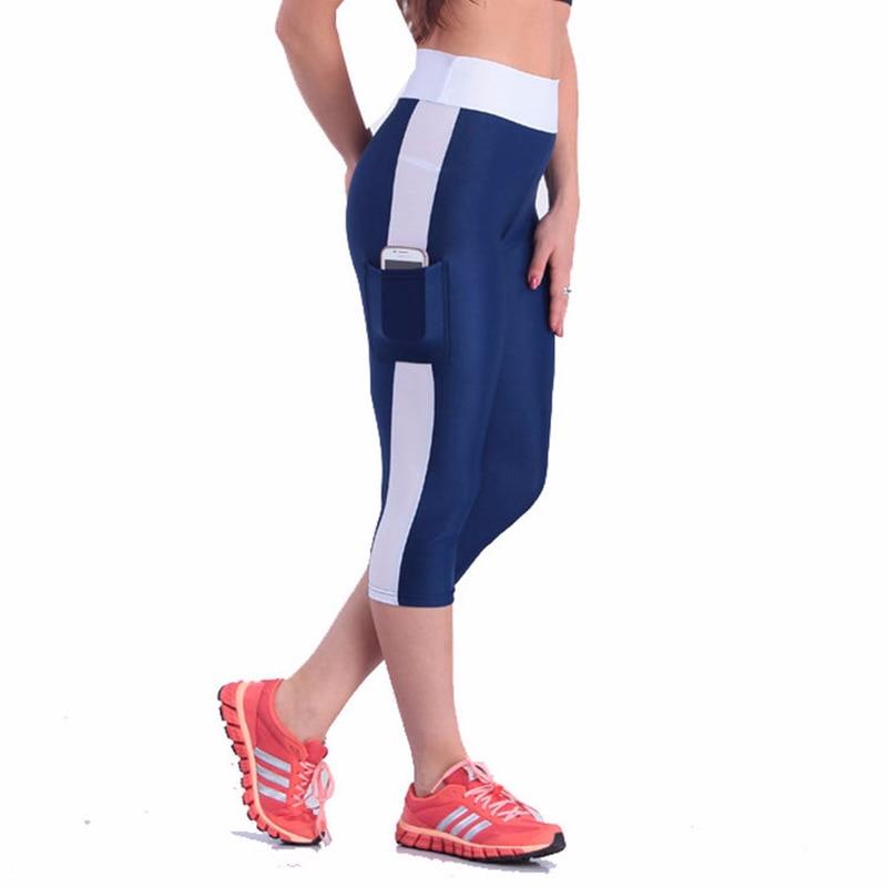 Super Big Size 4XL5XL High Waist Fitness Leggings with Pocket Women Capri Pants Reflective Leggins Workout Quick-dry Trousers