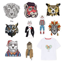 Animal Cat Iron on Patches for Clothing DIY T-shirt Dresses Appliques Flower Heat Transfer Washable Stickers Stripes on Clothes цена и фото