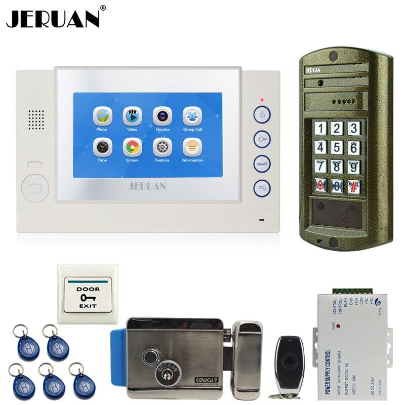 JERUAN NEW 7`` TOUCH Screen LCD Video Door Phone Record Intercom System kit Waterproof Password HD Mini Camera+E-Lock 1V1