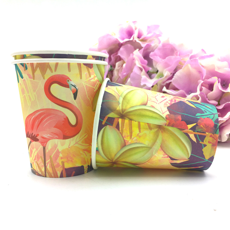60pcs Flamingo theme 30pcs cups 30pcs plates for Kids birthday party decoration 30people use in Disposable Party Tableware from Home Garden